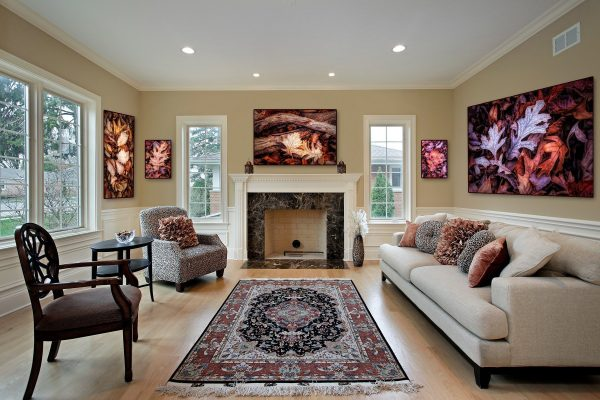 living room with fine art