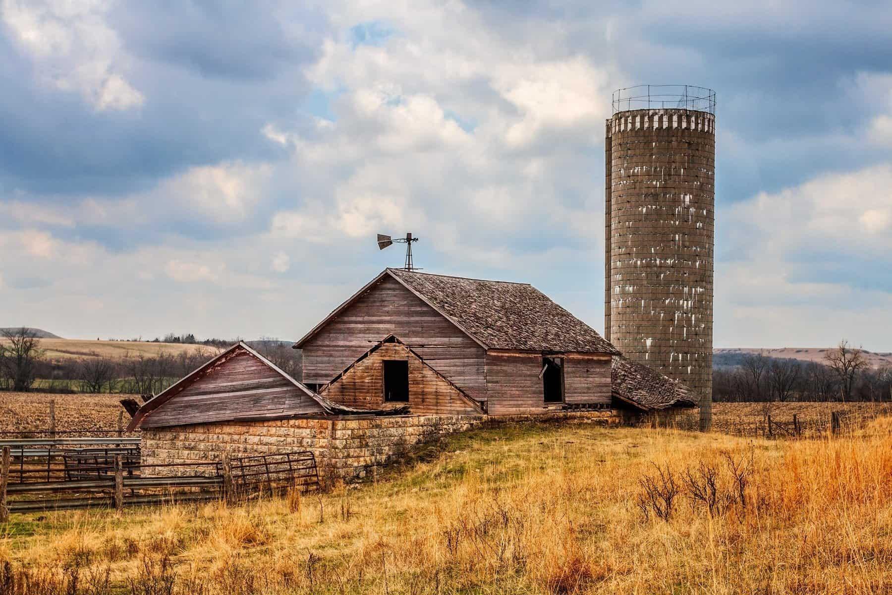 Old barn and silo photo